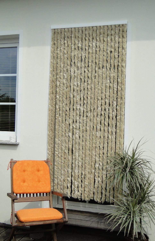 Leguana - Cortina para puerta 120x230 chenille, color color beige