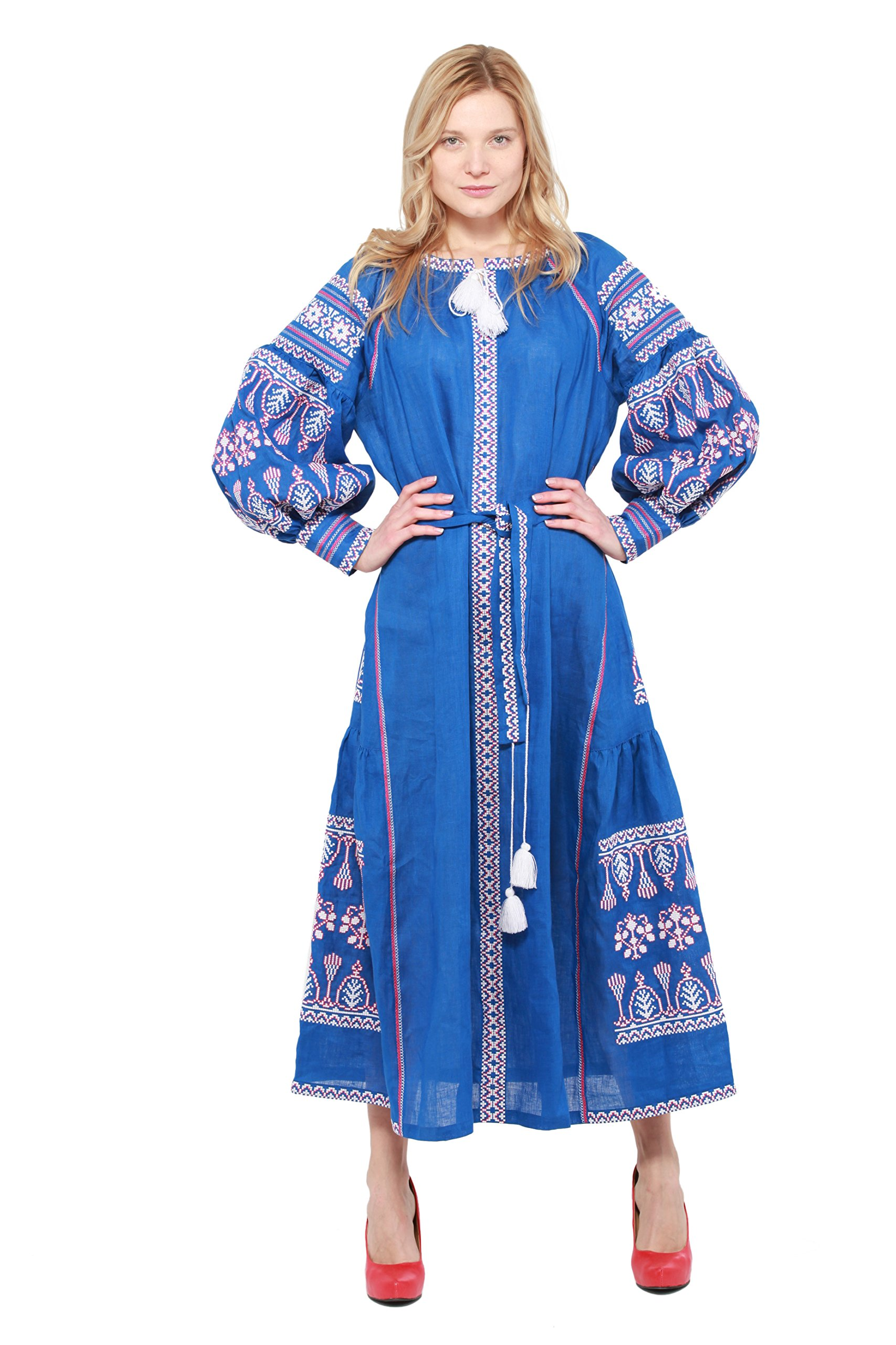 Boho Style Dress Embroidered Long Dress blue woman. Vyshyvanka Ukrainian (XXL, 140cm) by Boho Style Dress