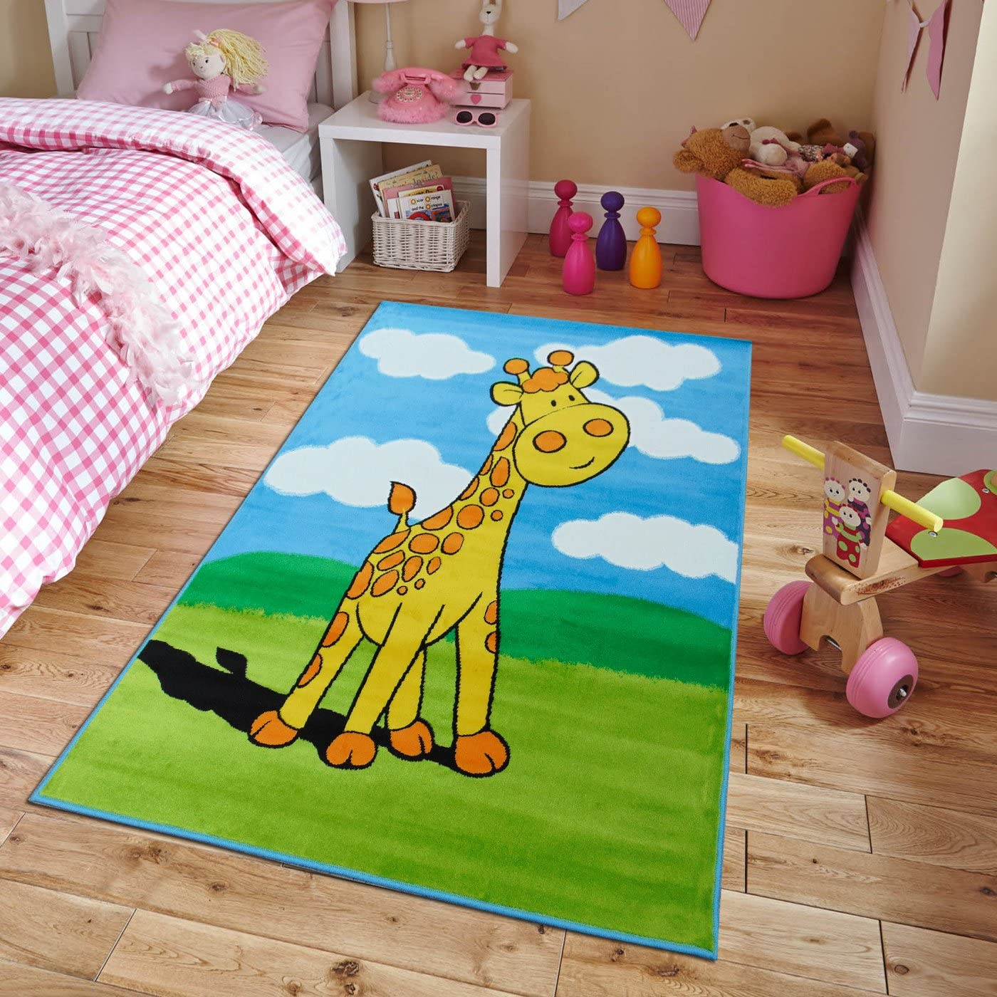New Soft Adorable Kids Rugs Contemporary Playtime Giraffe Island Kids Area Rug