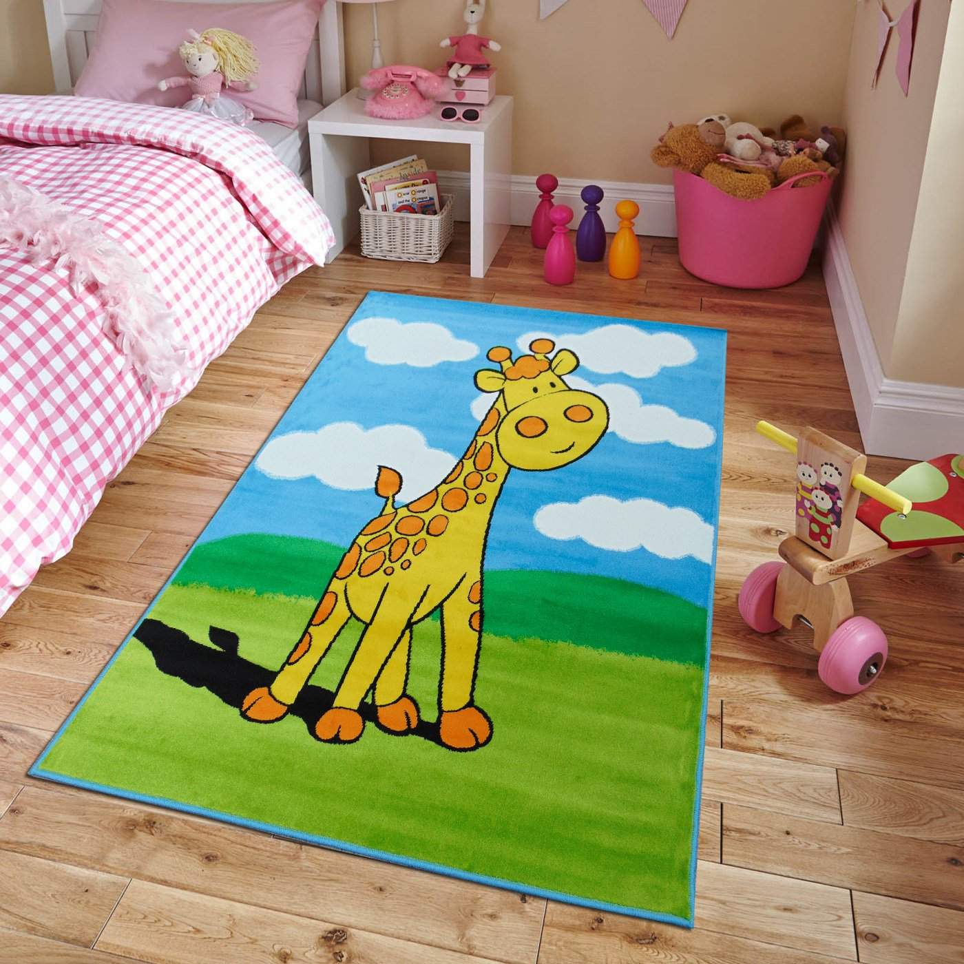 New Soft Adorable Kids Rugs Contemporary Playtime Giraffe Island Kids Area Rug, Large 5×7 Kids Carpet Playroom
