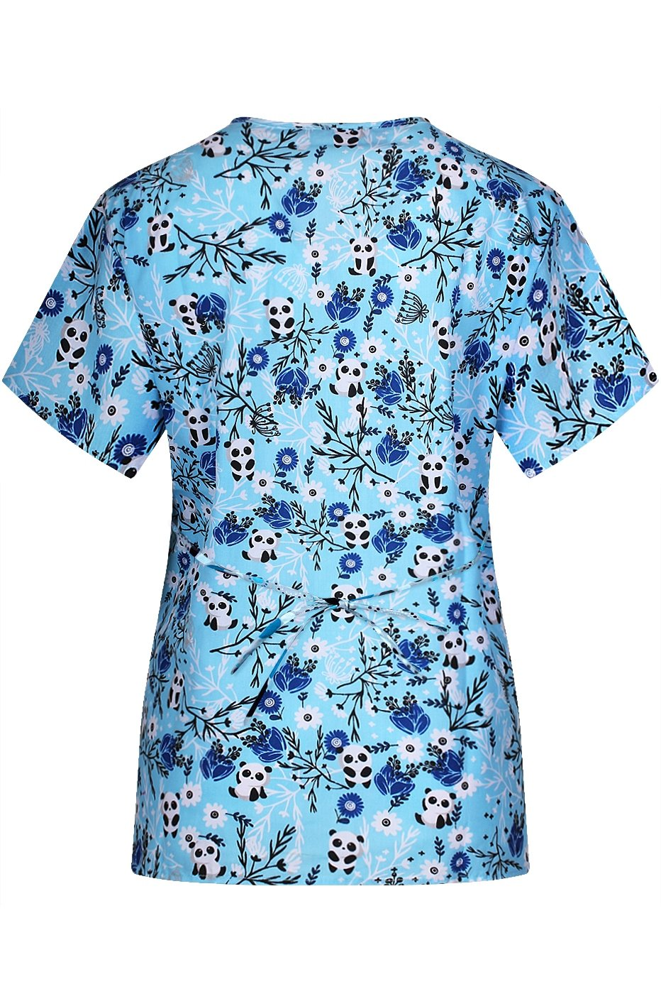 MedPro Women's Printed Mock Wrap Medical Scrub Top Multi Pack White Blue S by MedPro (Image #3)