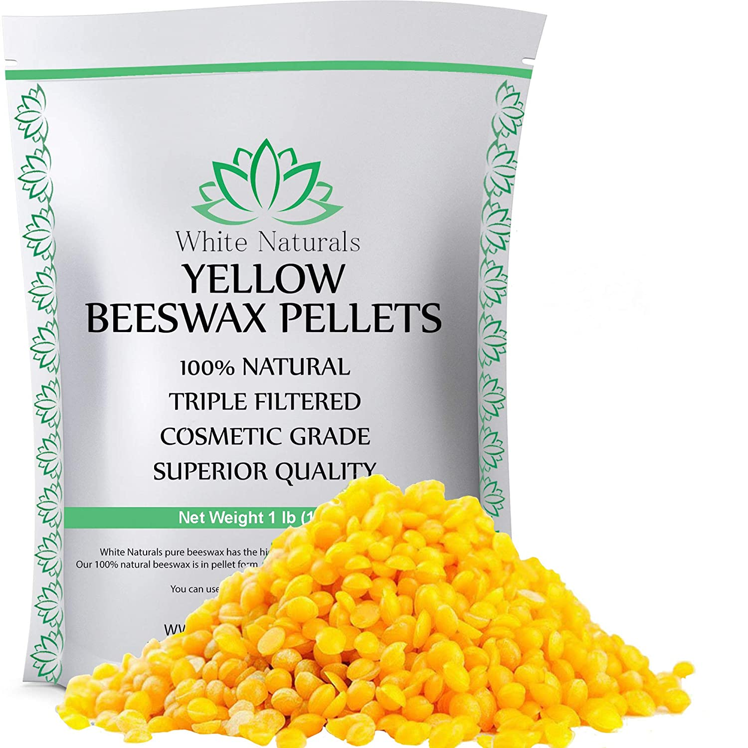 Limited Time Sale! Beeswax Pellets 1 lb, Yellow, Pure, Natural, Cosmetic Grade, Bees Wax Pastilles, Triple Filtered, Great for DIY Projects, Lip Balms, Lotions, Candles by White Naturals