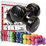 POWRX - Mancuernas vinilo 10 kg set (2 x 5 kg) + PDF Workout