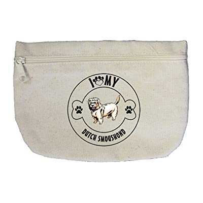 Canvas Zipper Pouch Makeup Bag I Love Paw My Dutch Smoushond Dog Style In Print