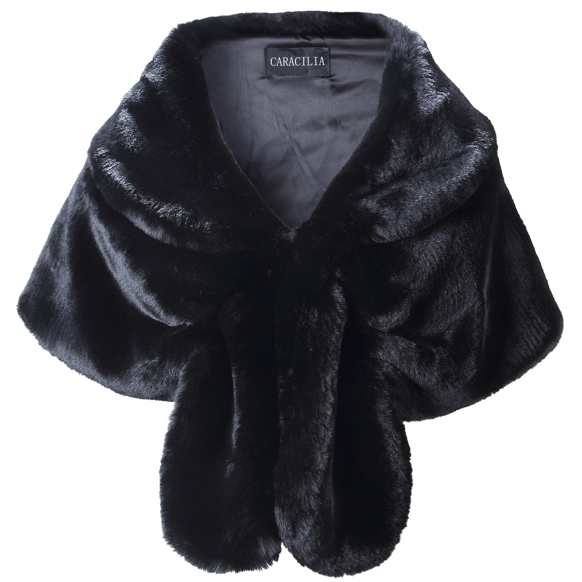 Caracilia Women Faux Fur Shawl Wrap Stole Shrug Winter Wedding Wrap Black S CA95