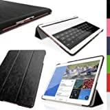 """iGadgitz Premium Black PU Leather Smart Cover Case for Samsung Galaxy Tab S 10.5"""" SM-T800 with Multi-Angle Viewing Stand + Auto Sleep/Wake + Screen Protector"""