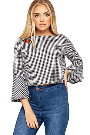 93c611a3e0f WEARALL Womens Long Bell Sleeve Crop Top Ladies Gingham Check Print Floral  Embroidered - Black - 14  Amazon.co.uk  Clothing