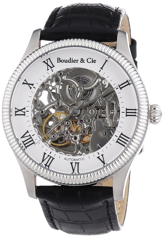 Boudier & Cie Herren Dignatio Skeleton Collection Automatik Armbanduhr mit skelettieretem Zifferblatt und offener Unruh -