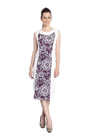 INSPIRE WORLD Cotton White   Purple Color Middy Dress for Girls   Women -  Floral Print dc59d8d769