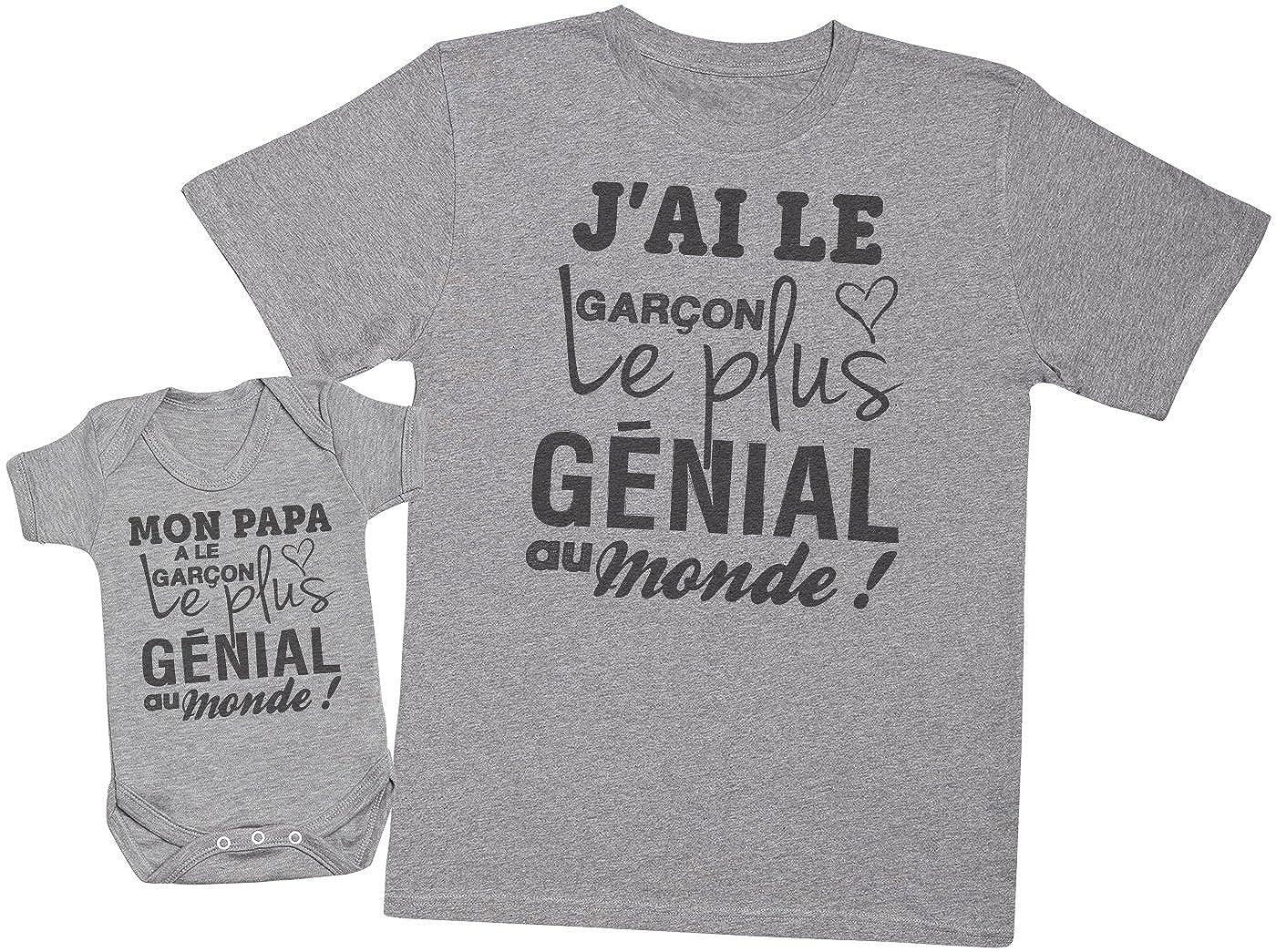 Mon Papa a Le Garçon Le Plus génial au Monde! - Ensemble Père Bébé Cadeau - Hommes T-Shirt & Body bébé