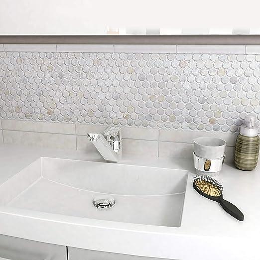 White//Beige//Grey SomerTile GDXCPNW Seashell Penny Shell Mosaic Wall Tile 11.25 x 11.63