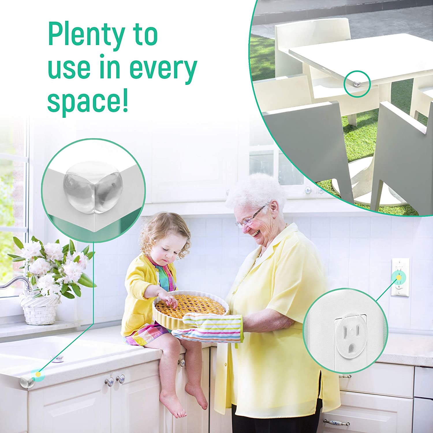 Perfect Baby Shower Gift Super Easy Installation 20 Clear Corner Protectors and 20 Clear Outlet Covers No Tools Needed Strong Pre-Applied Adhesive 2-in-1 Baby Proofing Kit for Child Safety