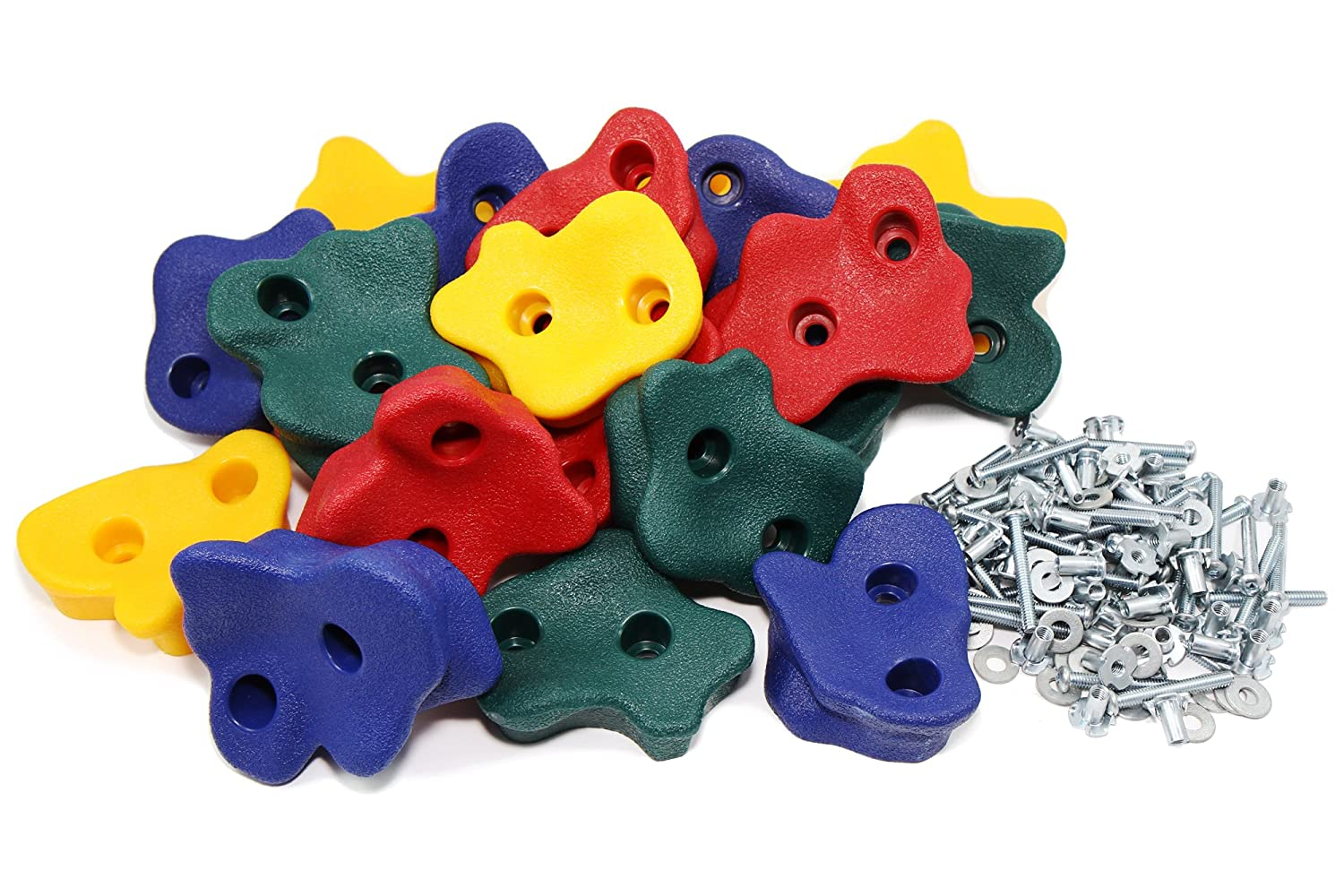 JGS 20 Premium Quality Large Rock Climbing Holds for Kids with Longer 2 Mounting Hardware for Wood Playset Swing Set Indoor Outdoor Climbing Wall Children Playground eBook Install Guide Included Jungle George Swings