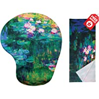 Claude Monet Water Lilies VI Ergonomic Design Mouse Pad with Wrist Support Gel Hand Rest. Matching Microfiber Cleaning Cloth for Glasses, Cars & Electronics. Mouse Pad for Laptop, PC Computer and Mac
