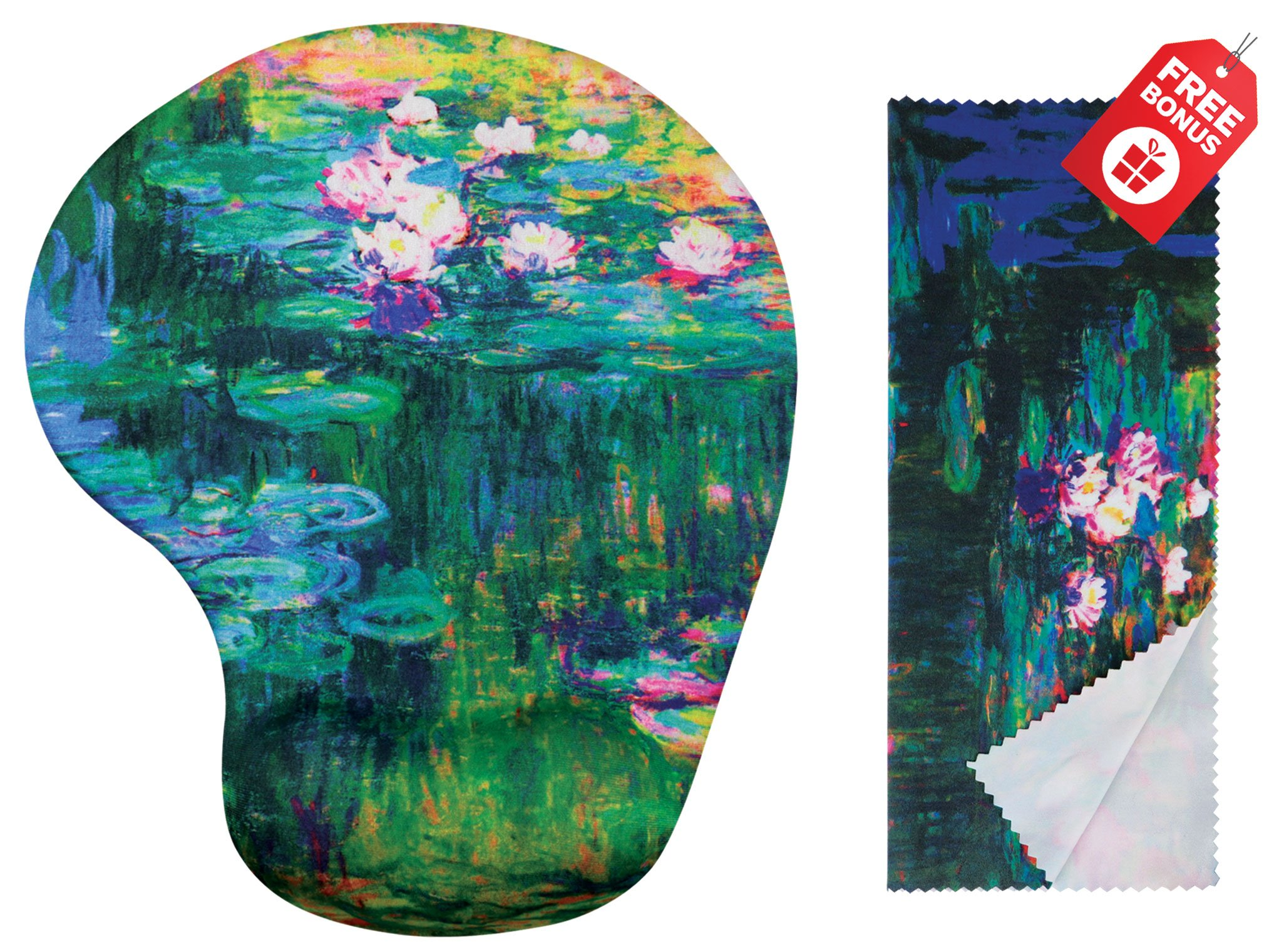 Claude Monet Water Lilies VI Ergonomic Design Mouse Pad with Wrist Support Gel Hand Rest. Matching Microfiber Cleaning Cloth for Glasses, Cars & Electronics. Mouse Pad for Laptop, PC Computer and iMac