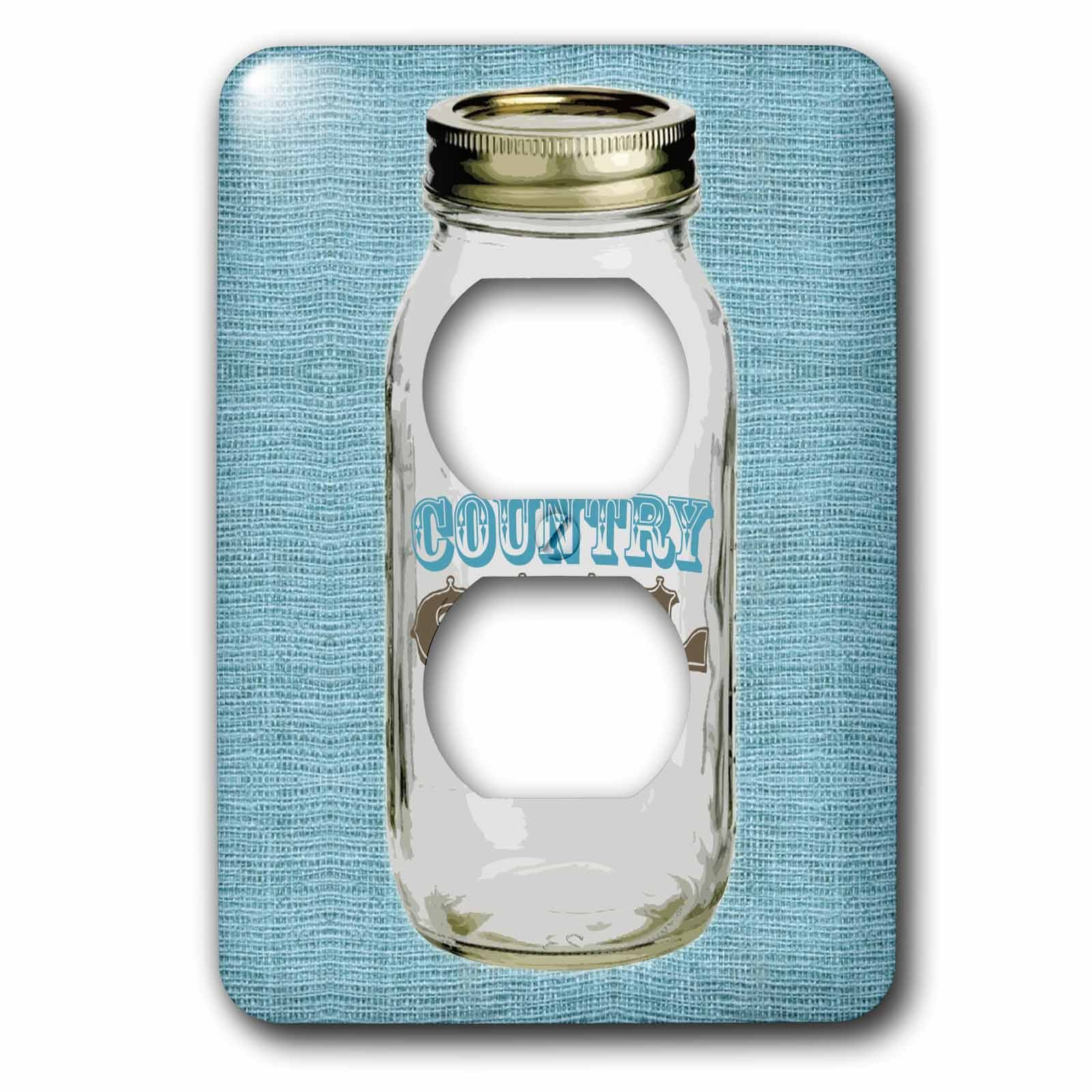 3dRose lsp_165875_6 Mason Jar on Burlap Country Girl in Blue 2 Plug Outlet Cover