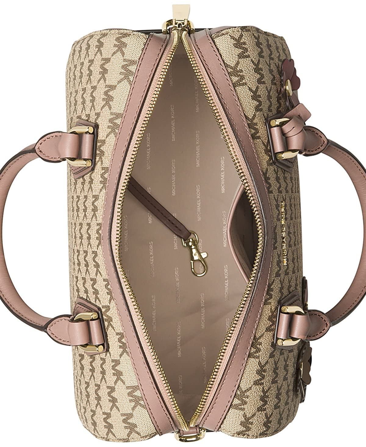 63323d7e9b75 Amazon.com: MICHAEL Michael Kors Flora Appliqué Mercer Medium Duffel  Signature Bag , Natural / Luggage: Shoes