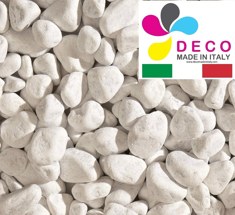 Sacco 25 kg Decomadeinitaly CIOTTOLI di Marmo Bianco Carrara in Pietra Bianca per Giardino Diametro 25//40 mm