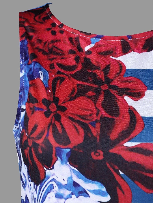 Women American Flag Vest Dress Printed Stripe Stitching O-Neck Sleeveless Maxi Mini Dress (S, Multicolor) by S&S-women (Image #5)