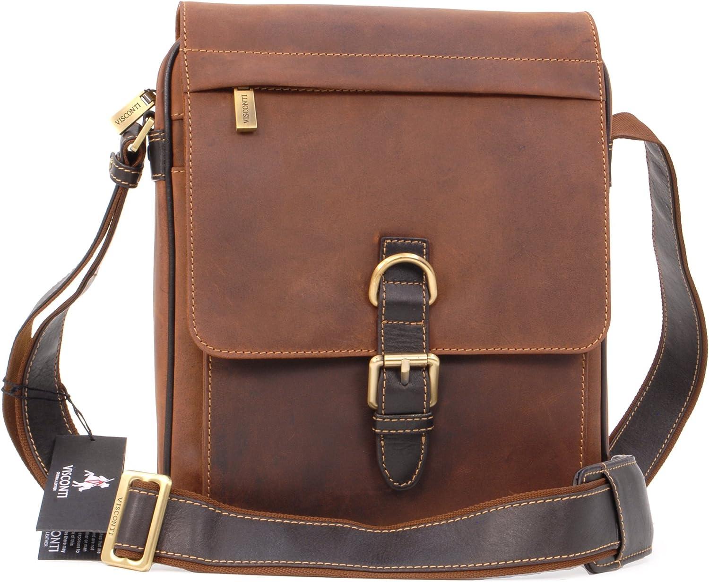 Visconti - LINK 16011 - Bolso bandolera organizador - Apto para Kindle, iPad y cuadernos - Cuero - Tostado