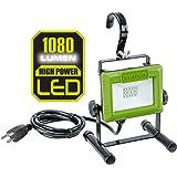 PowerSmith PWL110S 1080 Lumen LED Weatherproof Tiltable Portable Work Light with Large Adjustable Metal Hook, 360° Tilt, Meta