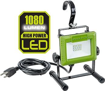 PowerSmith PWL110S 1080 Lumen LED Weatherproof Tiltable Portable Work Light with Large Adjustable Metal Hook, 360° Tilt, Metal Stand, Impact-Resistant Glass Lens, and 5' Power Cord