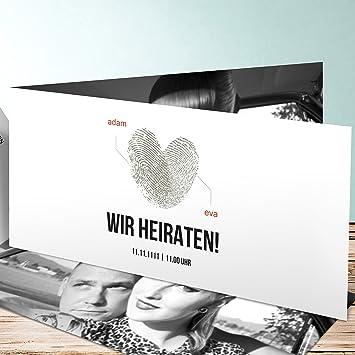 Hochzeitseinladungen Selbst Gestalten Fingerprint 70 Karten