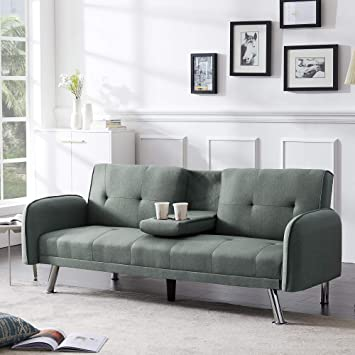 """Amazon.com: Merax Mini Futon Bed Couch, Modern Sofa Sleeper Design For Living Room Or Bedroom, Including Metal Legs And Upholstery Sofabed, 74.8"""", Sage Green: Furniture & Decor"""