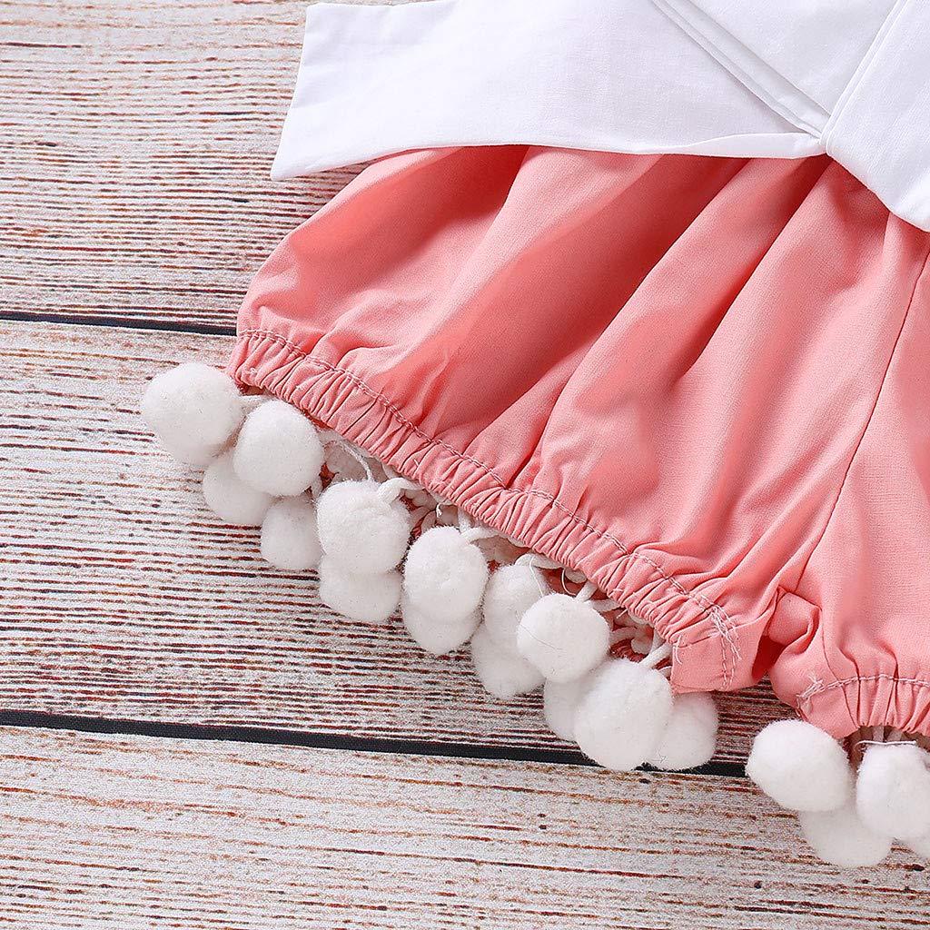Robe De Bapteme B/éb/é Fille Nouveau,Mounter Ensemble B/éb/é Filles Volants Sans Manches Tops Unicolores Shorts Bandeau Tenue