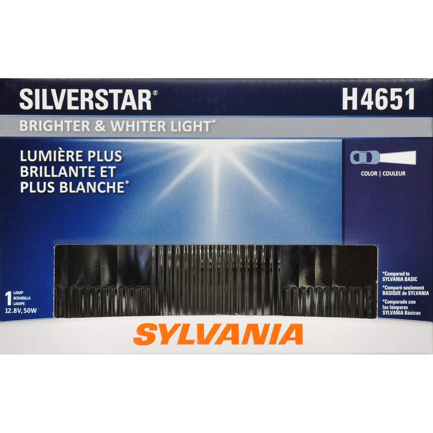SYLVANIA - H4651 SilverStar Sealed Beam Headlight - High Performance Halogen Headlight Replacement (100x165), Brighter & Whiter Light for Added Clarity ...
