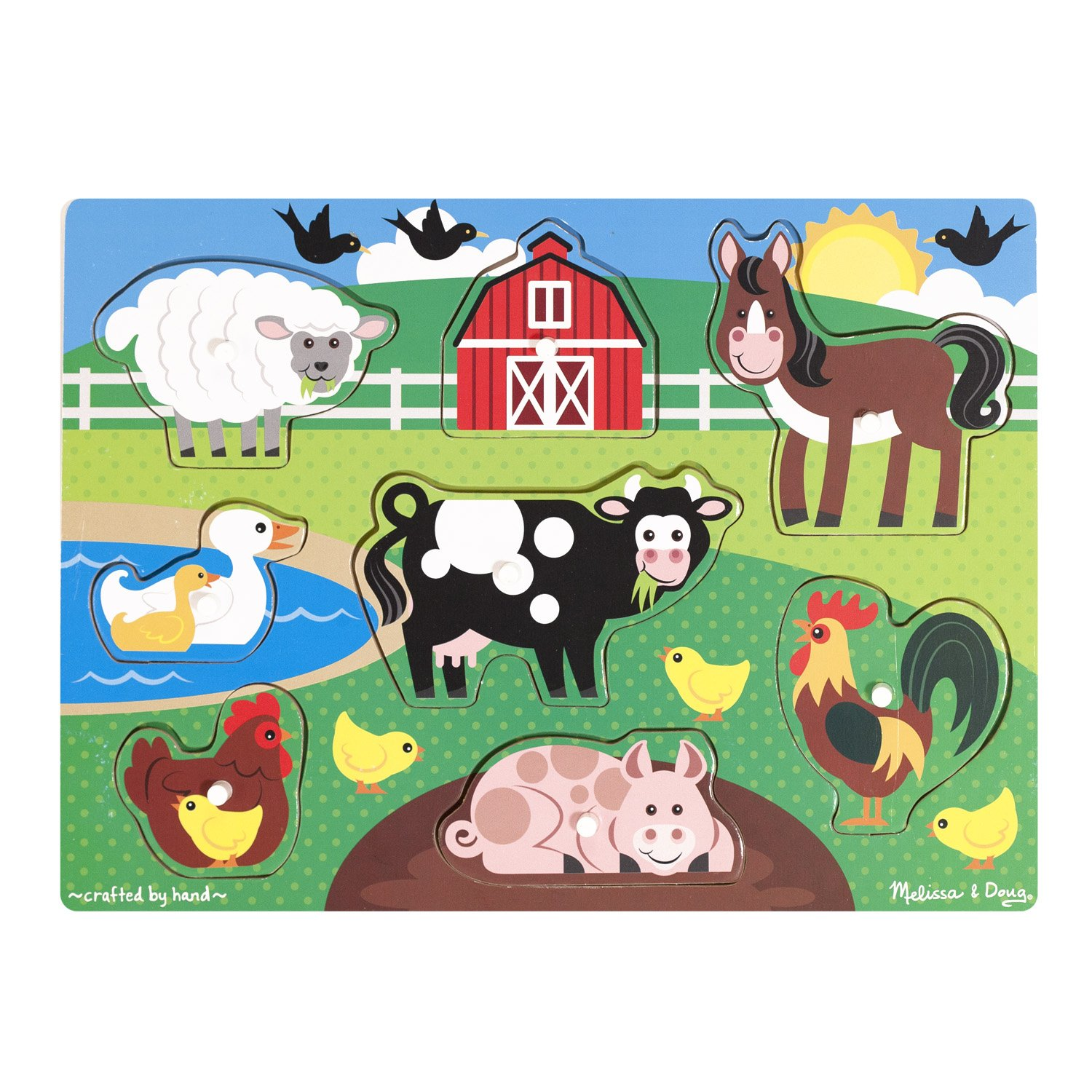 Melissa Doug Farm Wooden Peg Puzzle 8 pcs
