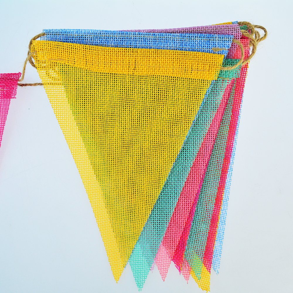 Nydotd 36 Flags 32.8ft Imitated Burlap Bunting Banner, Multicolor Triangle Flags Bunting Pennant for Party Decoration Hanging Wedding Supplies Christmas Décor