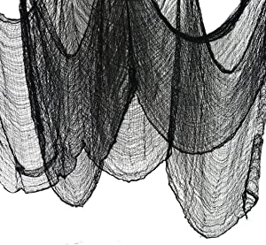 JCT Halloween Creepy Cloth Party Decor&Supplier-Superisize of 5.5yards X 79 inch, Black Creepy Cloth for Doors,Windows,Ledges,Overhangs,Gates, Spooky Haunted Houses Decor Hallowmas Decorative …