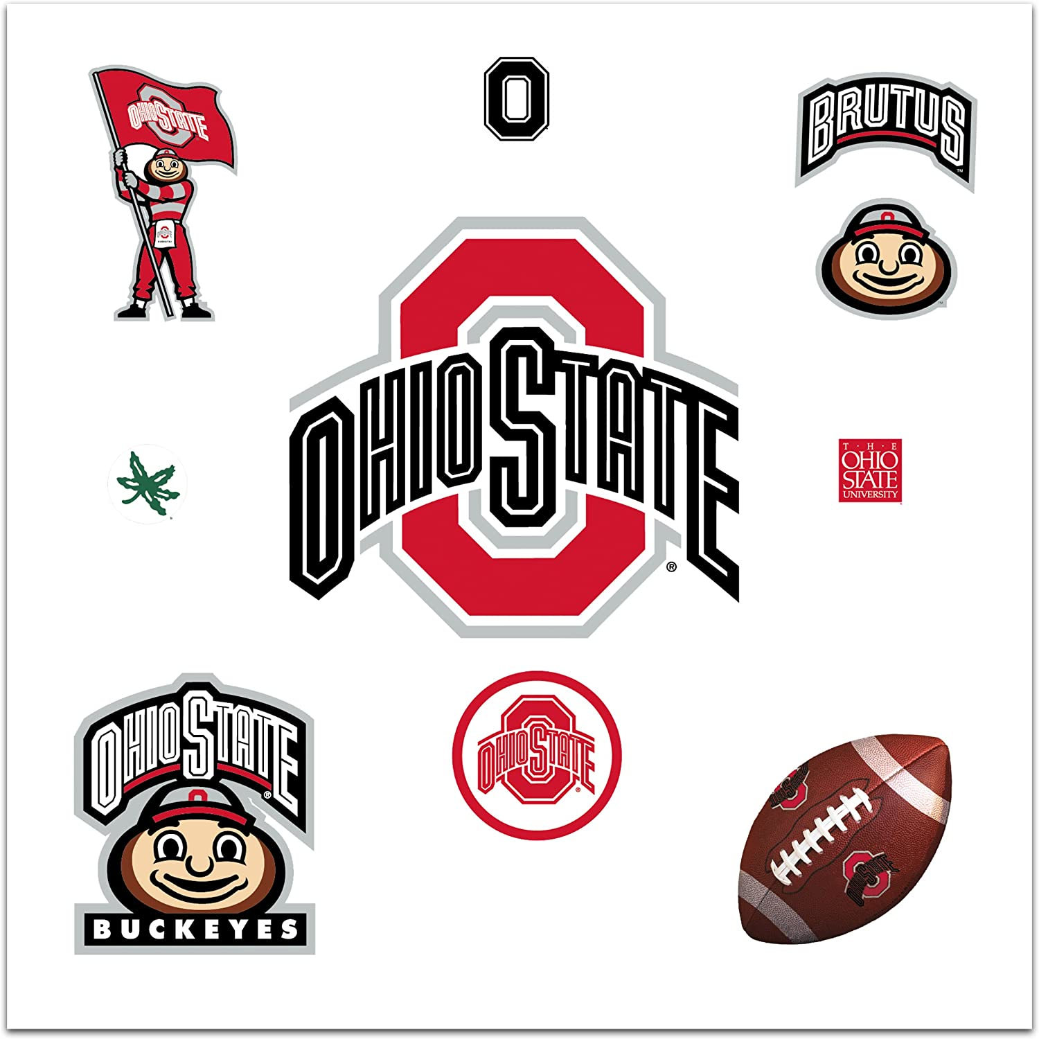 RoomMates RMK1836GM Ohio State Peel and Stick Giant Wall Decal with 3 Hooks