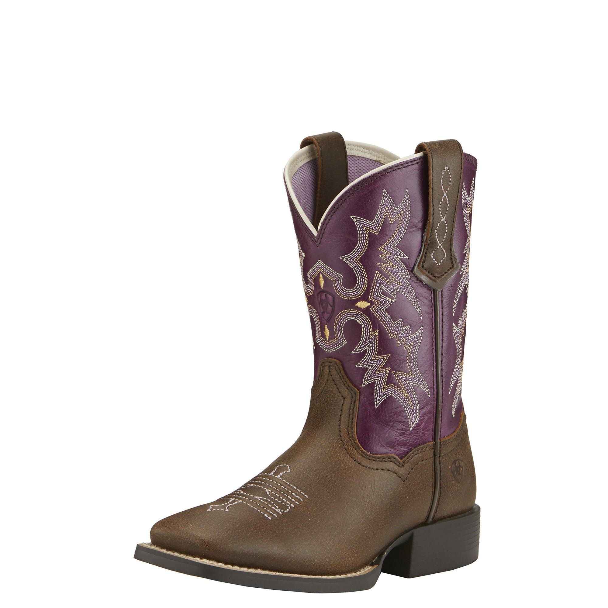 Ariat Kids' Tombstone Western Cowboy Boot, Vintage Bomber/Plum, 12 M US Little Kid