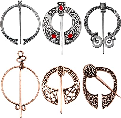 Amazon Com 6 Pieces Vintage Viking Brooch Cloak Pin Scarf Shawl Buckle Clasp Pin Brooch Penannular Brooch For Costume Accessory Antique Silver Rose Gold Classic Style Jewelry