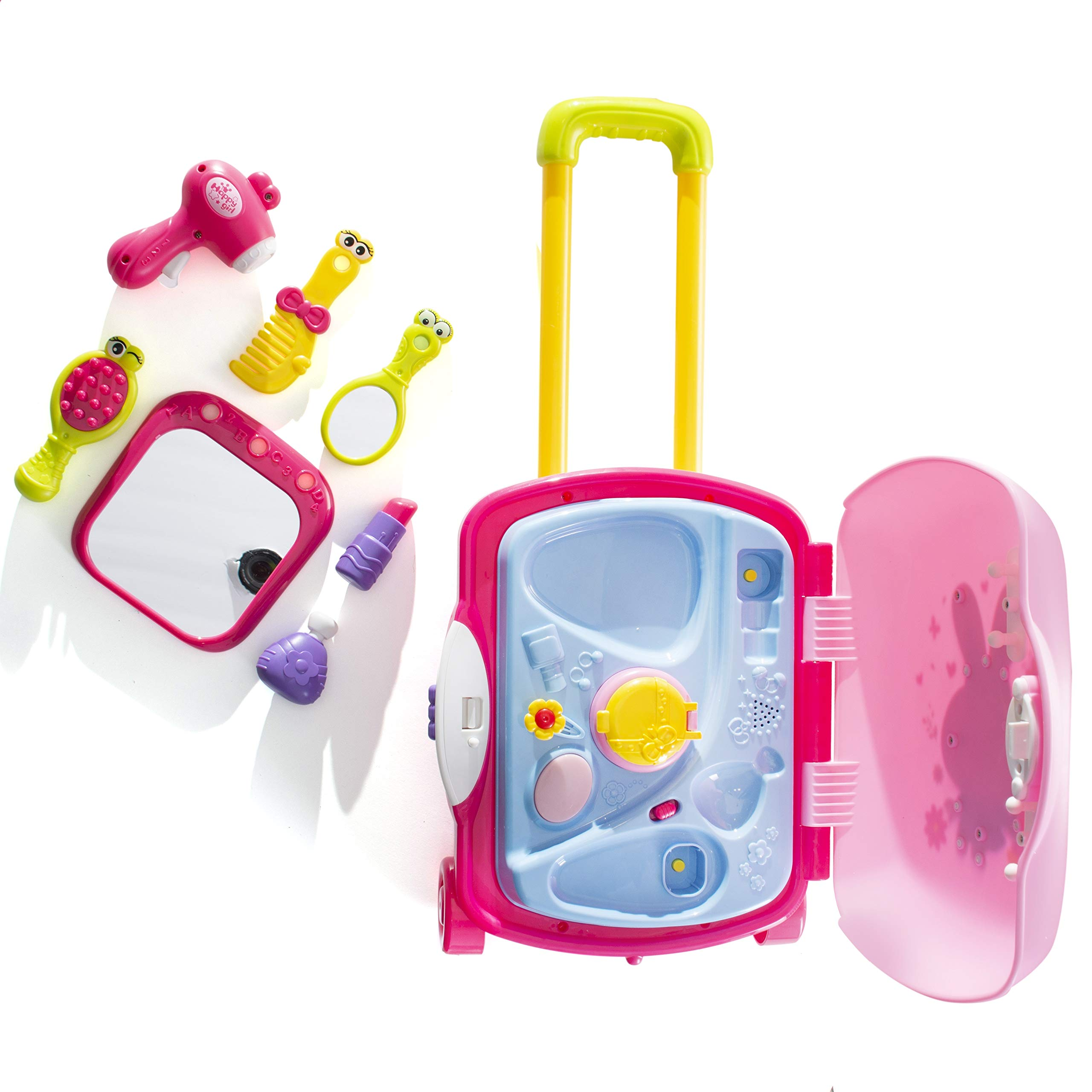 Pretend Play Girls Kids Beauty Salon Set with Realistic Mirror and Accesories Play Set with Fashion & Makeup Accessories for Girls by Prextex (Image #7)