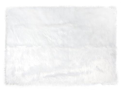 Tadpoles Faux Fur Rug, White, 3×5 Feet