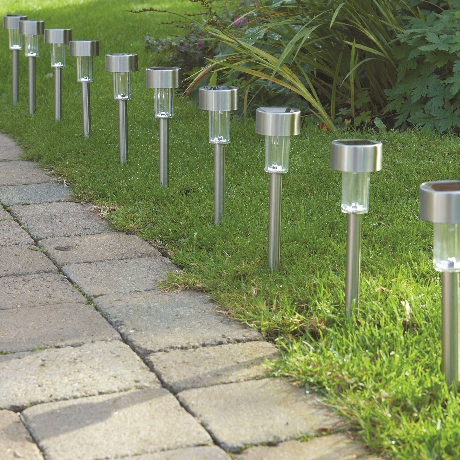 TUTU TECH Solar Light Outdoor [10 Pack] Landscape Path Lights, Solar Powered Pathway Light, Garden Outdoor, Stainless Steel Landscape Lighting for Lawn Patio Yard Walkway Driveway-Bright White by TUTU TECH (Image #7)