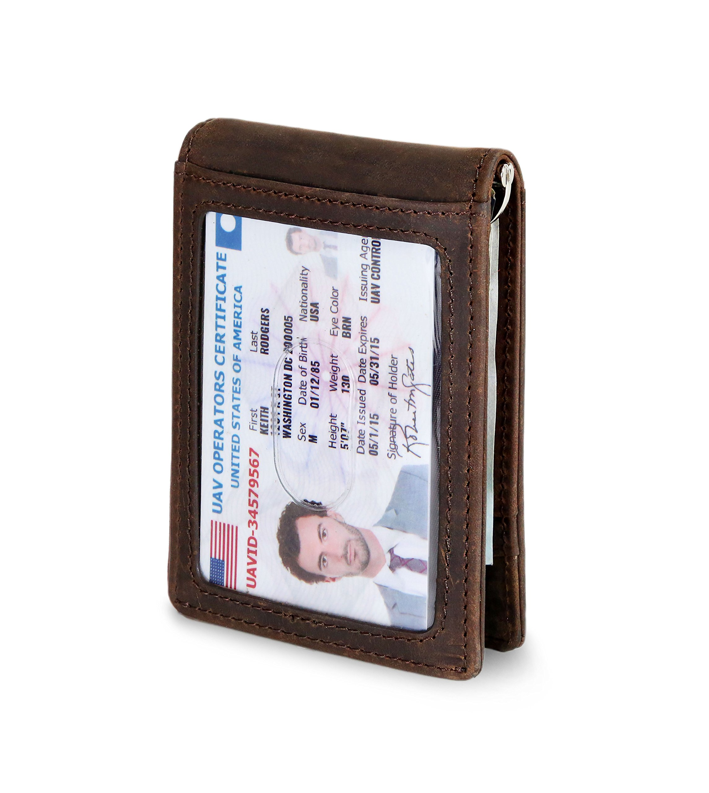 Travel Wallet RFID Blocking Bifold Slim Genuine Leather Thin Minimalist Front Pocket Mens Wallets with Money Clip - Made From Full Grain Leather (Texas Brown 1.S)