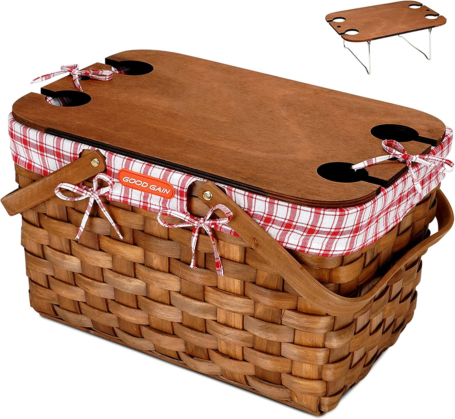 G GOOD GAIN Woodchip Picnic Basket with Portable Picnic Table, Natural Woven Basket with Double Folding Handles, Hand Woven Easter Eggs and Candy Basket, Bath and Kids Toy Wicker Storage Basket L Red