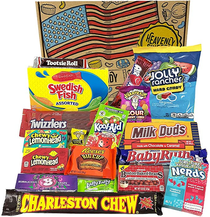 American Candy Box Hamper American Sweets And Chocolate Bar Gift Box Selection Reeses Baby Ruth Nerds Jolly Rancher Value Pack 18 Items In