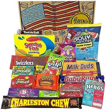 Cesta con American Candy | Caja de caramelos y Chucherias Americanas | Surtido de 18 artículos incluido Reeses, Baby Ruth, Nerds, Hersheys| Golosinas ...