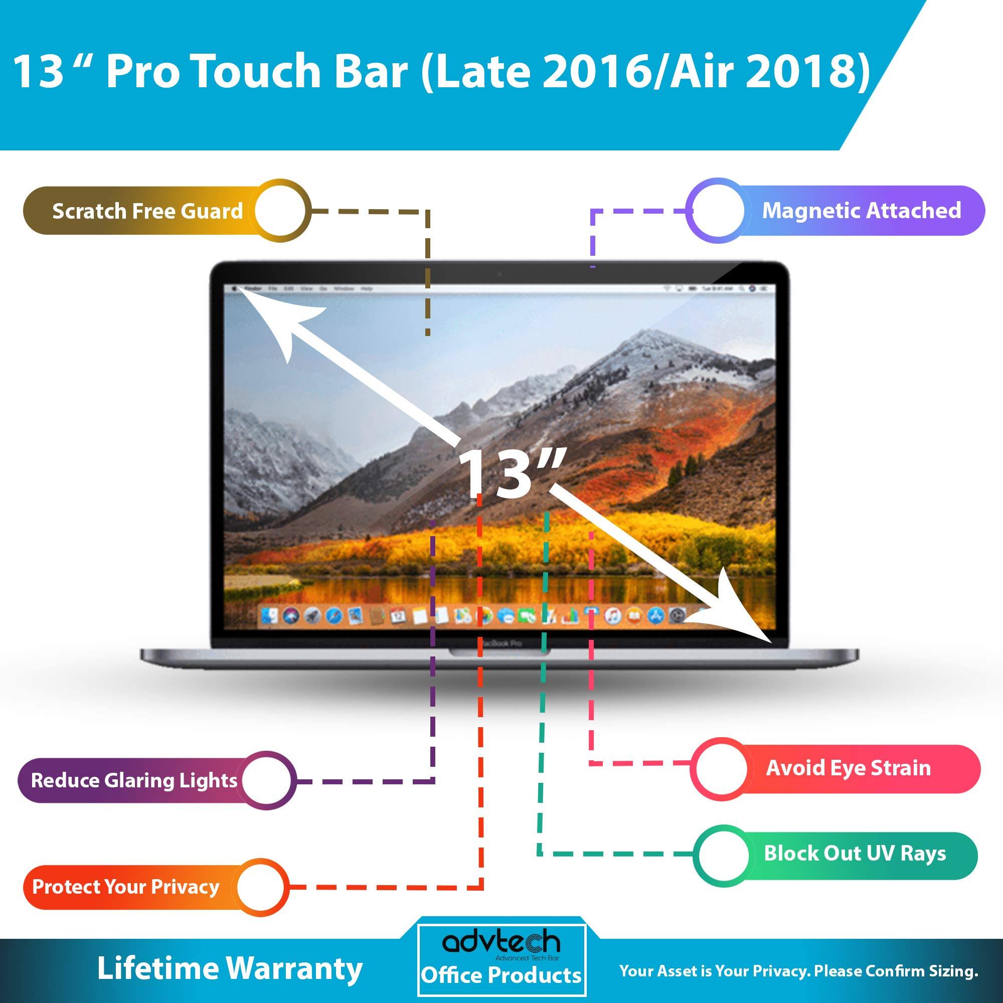 ADVTECH 2nd Gen Magnetic Privacy Screen Filter Compatible for Latest MacBook Pro 13'' Touch Bar (Late 2016) and MacAir (2018) No Stickers Required [Anti-UV Rays] Anti-Glare [Screen Protection] No Leak by ADVTECH (Image #2)
