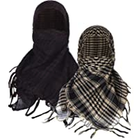Boao 2 Pieces Keffiyeh Shemagh Arab Scarf Wrap Tactical Desert Scarf Cotton Head Wrap