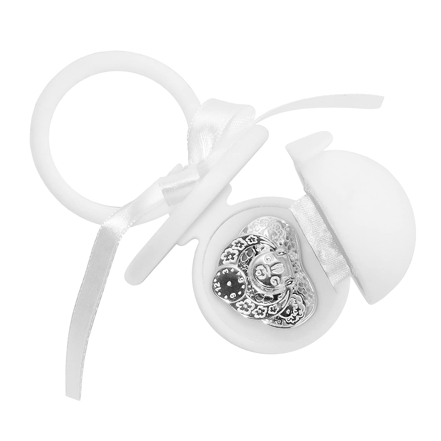 0f36069e468e9 Silver Keepsake Pacifier - Real 925 Sterling Silver Baby Gift - First Tooth  Keepsake for Newborn Boys and Girls