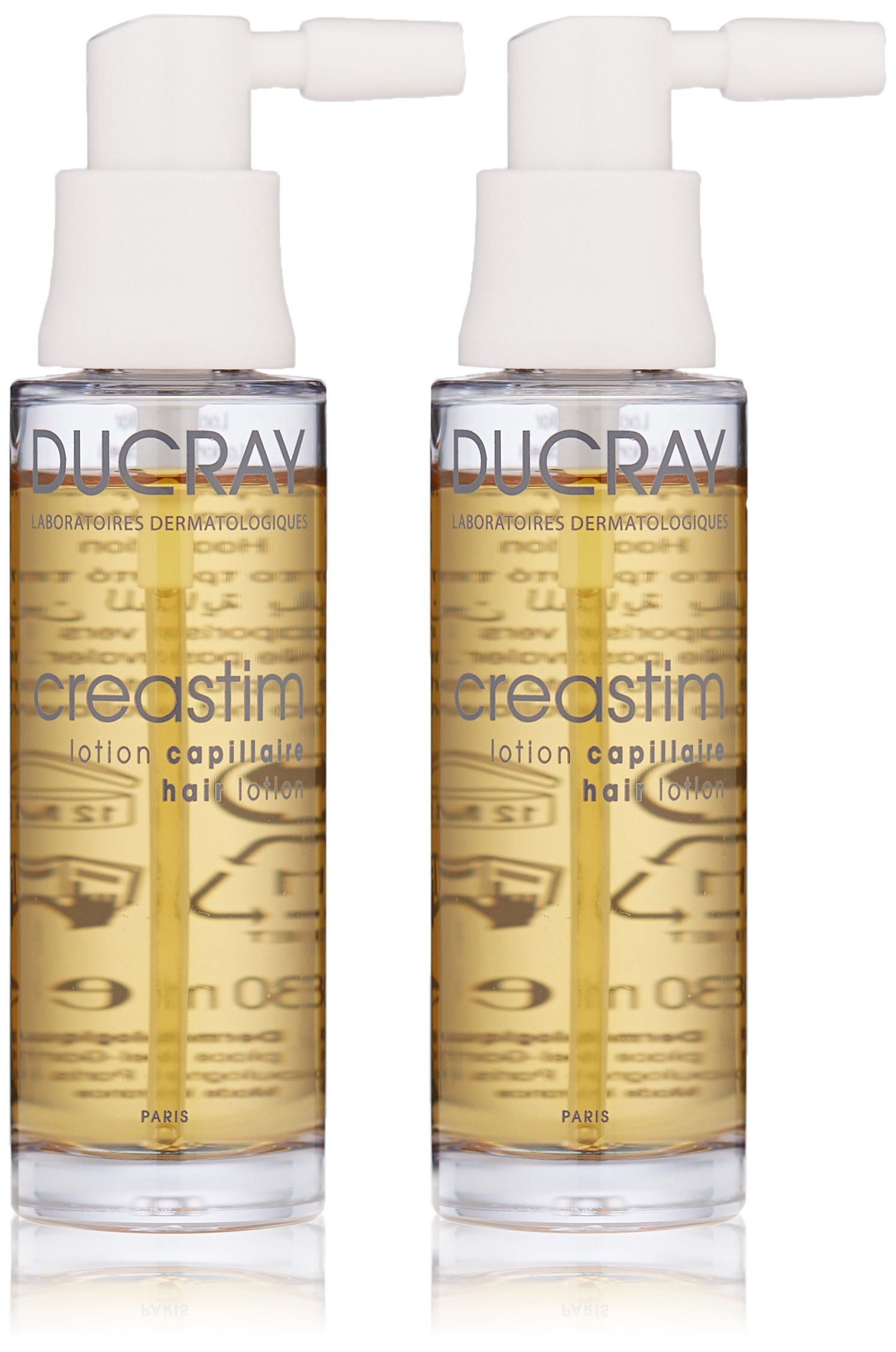 Ducray Creastim Hair Lotion Spray,  Men & Women, Strengthening Treatment for Sudden, Reactional Thinnnign Hair, 2 x 1 oz.