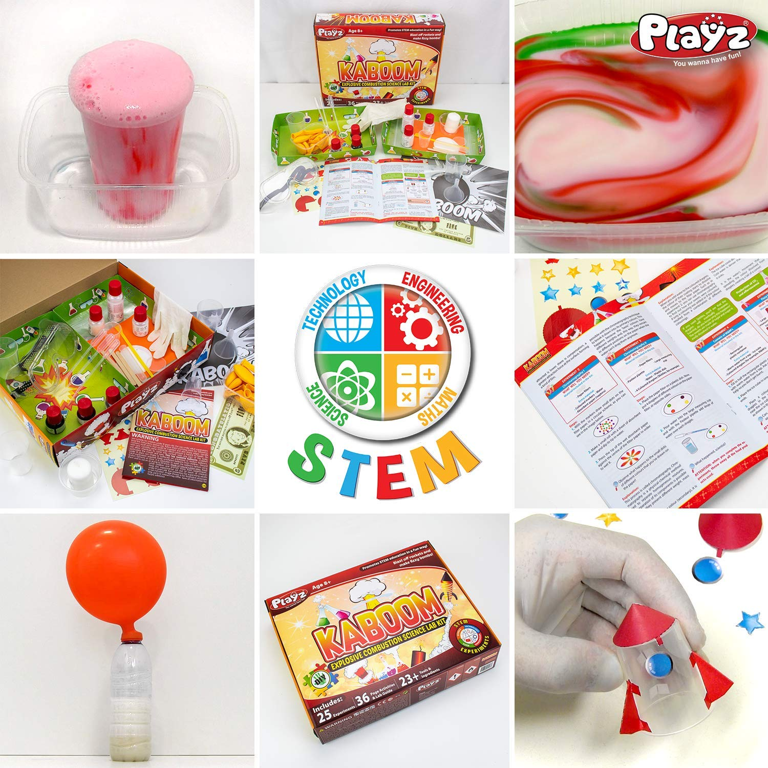 Playz Kaboom! Explosive Combustion Science Lab Kit - 25+ STEM Experiments - DIY Make Your Own Rockets, Helium Balloons, Fizzy Bombs, Color Explosions and More with Fun Chemical Reactions! by Playz (Image #6)