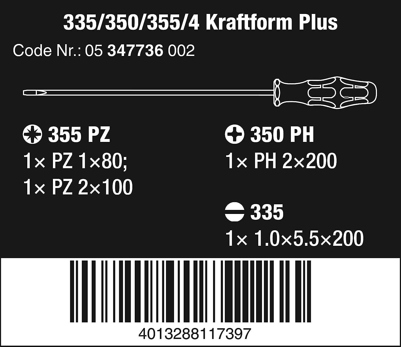 4 Piece WERA 347736 Kraftform L//S Screwdriver Set