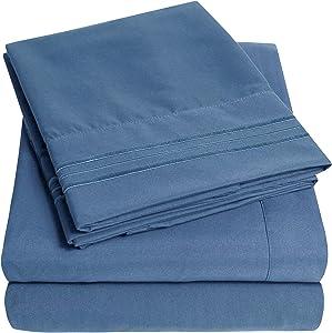 1500 Supreme Collection Bed Sheet Set - Extra Soft, Elastic Corner Straps, Deep Pockets, Wrinkle & Fade Resistant Hypoallergenic Sheets Set, Luxury Hotel Bedding, King, Denim